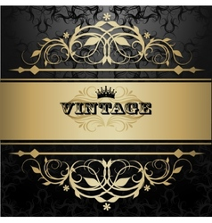Vintage background with golden pattern vector image