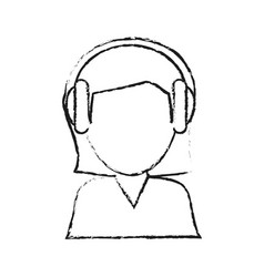 Blurred silhouette image cartoon half body female vector