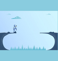 business man standing on edge of cliff gap problem vector image vector image