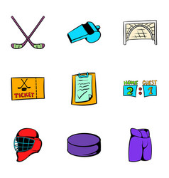 hockey sport icons set cartoon style vector image
