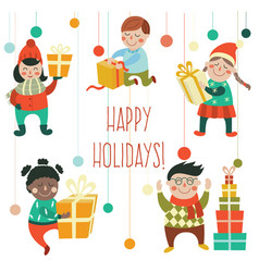kids children with christmas new year presents vector image