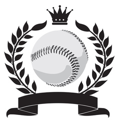 logo with a wreath and a baseball vector image vector image