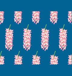pink wisteria on indigo blue background vector image