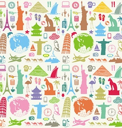 Travel seamless background vector image vector image
