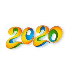 2020 new year colour banner paper cut art vector image