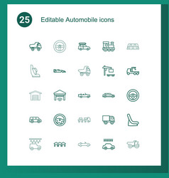 25 automobile icons vector image