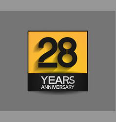 28 years anniversary in square yellow and black vector