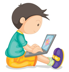 A boy and laptop vector