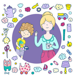 A mean mother a frame cute icons items toys vector
