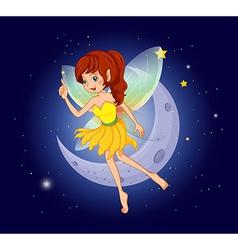 A pretty fairy at the sky near the moon vector