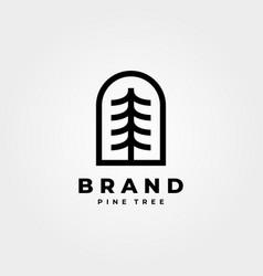 Abstract pine tree logo emblem minimal design vector