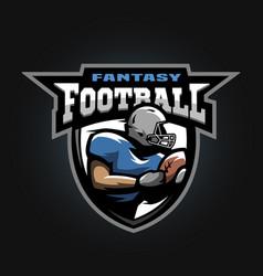 American football sport logo running athlete vector