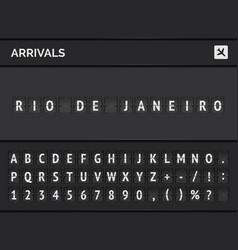 analog airport flip scoreboard with flight info of vector image