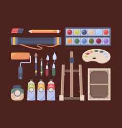 artist items tools for painter brushes canvas oil vector image