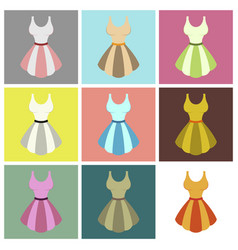 Assembly flat icons fluffy dress vector