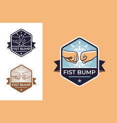 badge for friendship with fist bump vector image