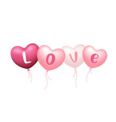 balloons heart pink and white color love message vector image