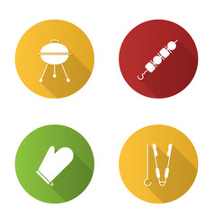 Barbecue flat design long shadow glyph icons set vector