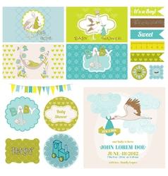 Bashower stork theme set vector