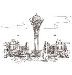 Bayterek tower in astana vector
