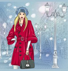 beautiful fashionable girl on the wide avenue vector image