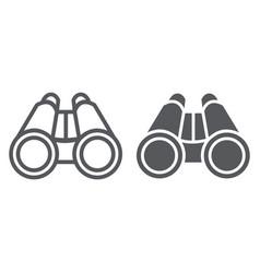 Binoculars line and glyph icon optical and zoom vector