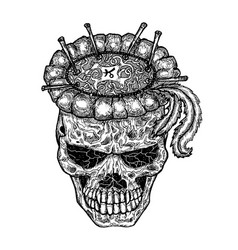 black and white scary demon skull vector image
