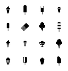black ice cream icons set vector image