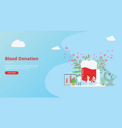 Blood donation concept for website template vector