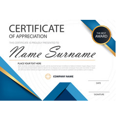 blue elegance horizontal certificate template vector image