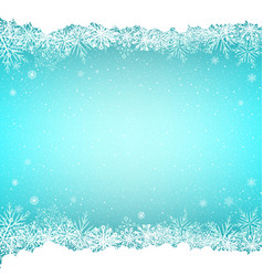 blue snow and snoweflakes background vector image