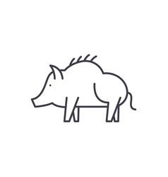 boar line icon concept boar linear vector image
