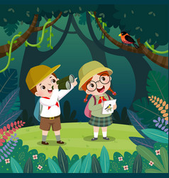 boy and girl watching bird through binoculars vector image