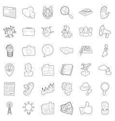 business icons set outline style vector image