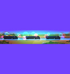 Cargo semi truck trailers driving road 5g online vector