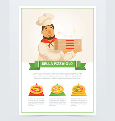cartoon character italian pizzaiolo holding vector image