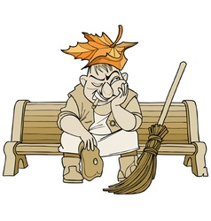 Cartoon janitor man sitting on a bench vector
