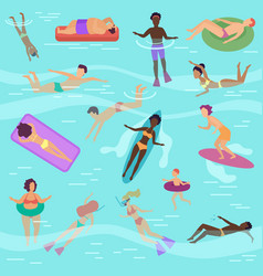 cartoon people set in sea or ocean vector image