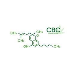 Cbc molecular formula cannabichromene molecule vector
