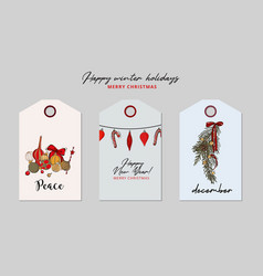 christmas greeting tag set bauble garland holiday vector image