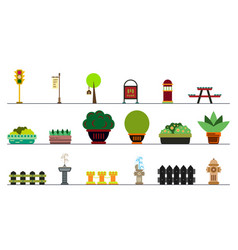 City and outdoor elements lamppost and container vector