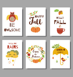 collection autumn typography flyer template vector image