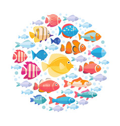 Colorful aquarium fish set in circle vector