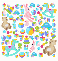 colorful teddy bear rocking horse pink rabbit vector image