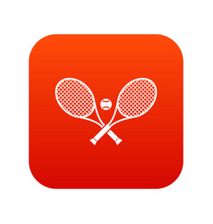 crossed tennis rackets and ball icon digital red vector image