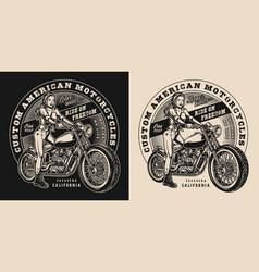 Custom motorcycle vintage print vector