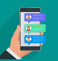 Customer reviews review rating on mobile phone vector