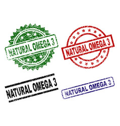 Damaged textured natural omega 3 seal stamps vector