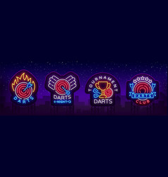 Darts collection of neon signs vector