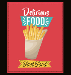 delicious food french fries fast food snack lunch vector image